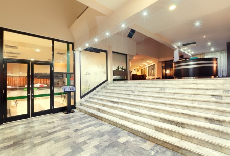Interior of a hotel, architectural design of a reception.   Standard-Bild