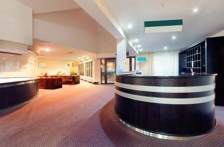 Interior of a hotel, architectural design of a reception.   Stockfoto