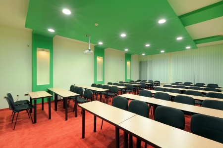 Interior of a conference room, simple and modern style.  photo