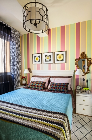Interior of a bedroom, retro style.