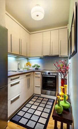 small room: Interior of a modern small kitchen.  Stock Photo