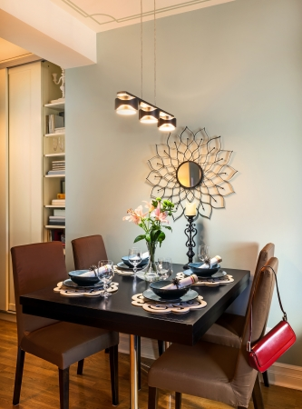 dinning: Details of small dinning room, retro vintage style.  Stock Photo