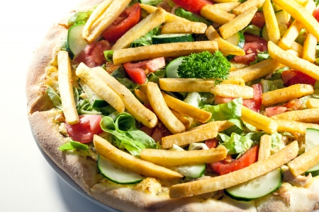 Pizza with fries and vegetables   Stock Photo - 19808389