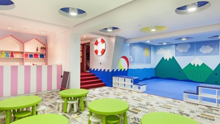 Interior of a modern kindergarten.  Stock Photo