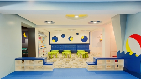 Interior of a modern kindergarten.  photo