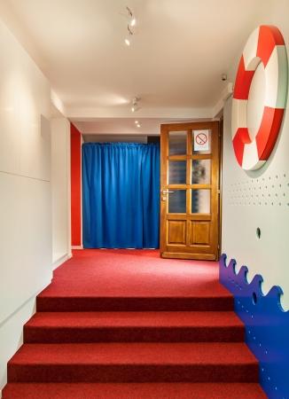 Interior of a kindergarten, details of entrance.  photo