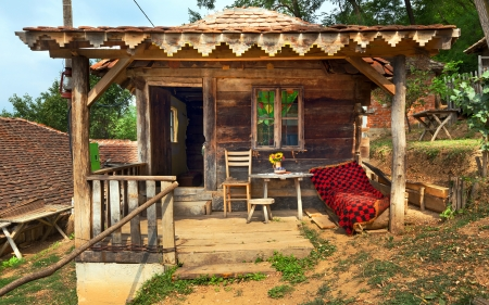 Wooden house in forest, house made of natural materials.  Stock Photo - 22020384