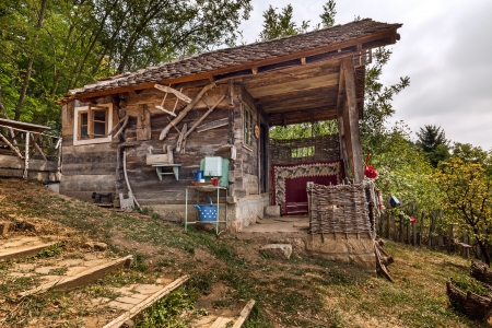 Wooden house in forest, house made of natural materials.  Stock Photo - 22020417