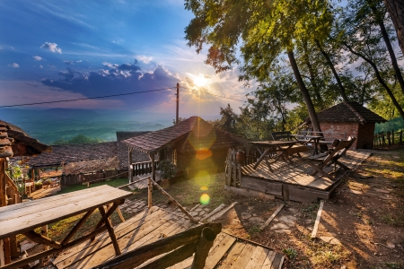 serbian: Old Serbian household, traditional vintage look.  Stock Photo