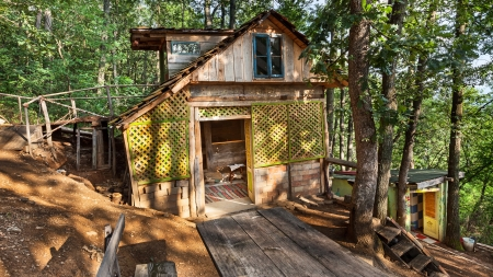 Wooden house in forest, house made of natural materials. Stock Photo - 22020423
