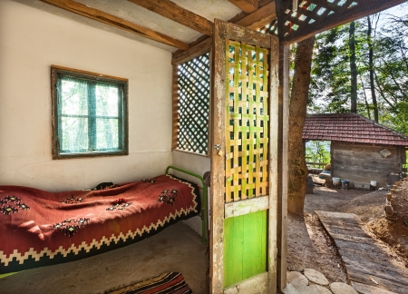 Interior of a wooden house, traditional Serbian style. Stock Photo - 22020428