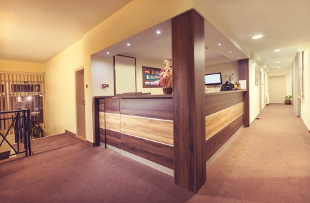 Interior and details of a small hotel reception.  photo