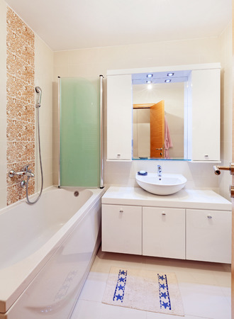Small apartment bathroom, new in white, clean and modern Stock Photo - 25679797