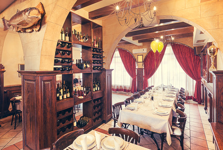 Interior of a restaurant, modern and vintage design mixed   photo