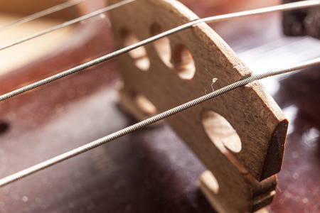 classical music: Macro view on violin strings and violin body. Stock Photo