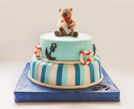 torta compleanno: Dettagli di un primo anno di torta di compleanno in blu, per il ragazzo.