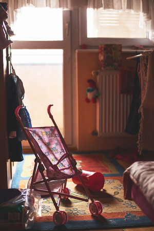messy room: Room of a small child, toys all around. Stock Photo