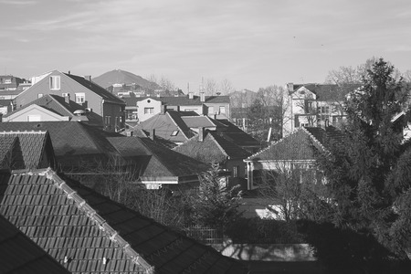 East European town, classical Serbian or Balkan town architecture, buildings and houses, in black and white. photo