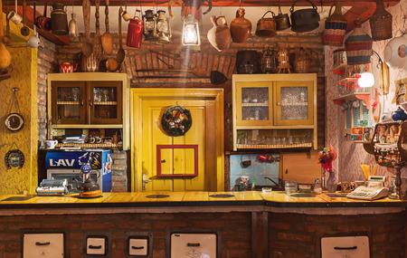 serbian: Cacak, Serbia - December 06, 2014: Cafe and restaurant interior, Serbian ethnic vintage design. Editorial