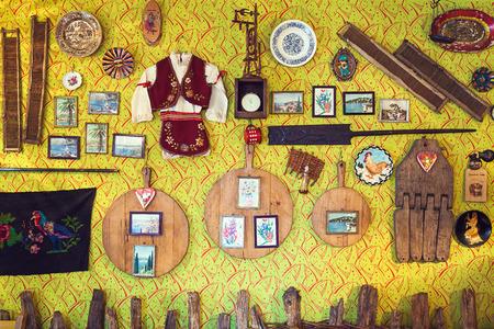 souvenir traditional: Cacak, Serbia - December 06, 2014: Cafe and restaurant interior, Serbian ethnic vintage design. Editorial