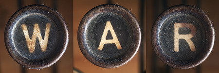 consists: A word consists of buttons from an old vintage typewriter.