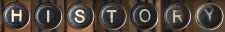 A word consists of buttons from an old vintage typewriter. photo