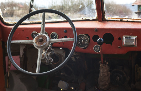 old bus: Old bus interior, view on steering wheel and control table.