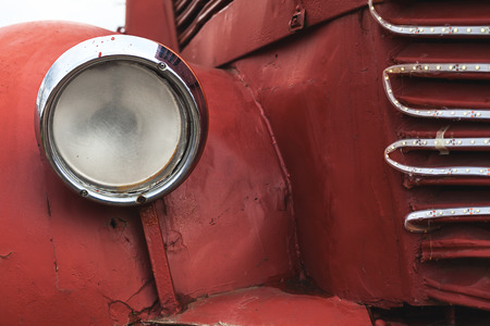 old bus: Old bus beacon details, red aged metal around it.