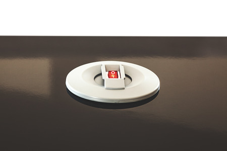 built in: Details of a modern electric switch built in table.