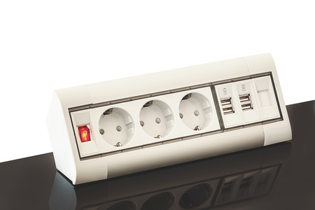 built: Modern electric plugs built in table clever solutions for saving space and making cords invisible.