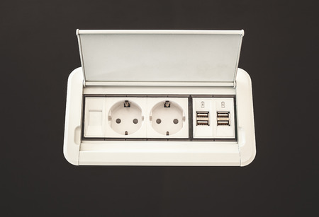 built in: Modern electric plugs built in table clever solutions for saving space and making cords invisible.
