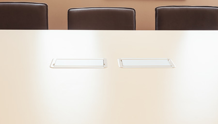 built in: Modern electric power supply built in table good solution for office making cords invisible.
