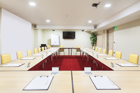 interior office: Interior of a modern conference room tables with built in power supply. Stock Photo