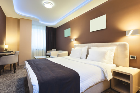 Interior of a hotel room for two persons. Modern luxury design. Stockfoto