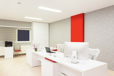 commercial: Interior of a modern office simple with white furniture equipment and walls.