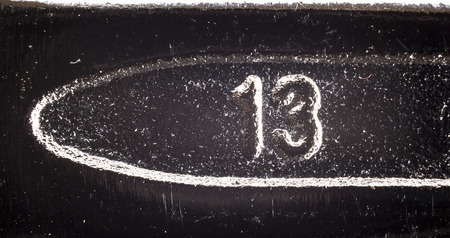 molten: Molten number on metal surface, dusty and dirty surface details. Stock Photo