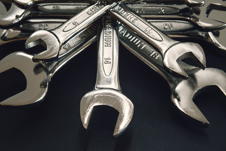 classical mechanics: Various mechanical keys, details and closeup view. Stock Photo