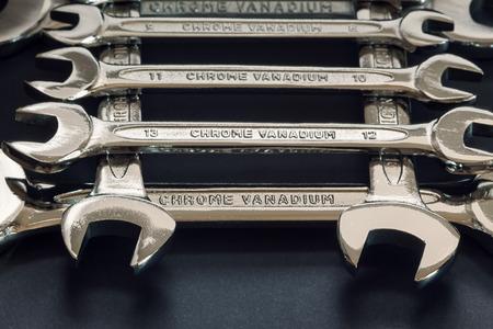 chrome vanadium: Wrenches in square order, various sizes, whole set details. Stock Photo