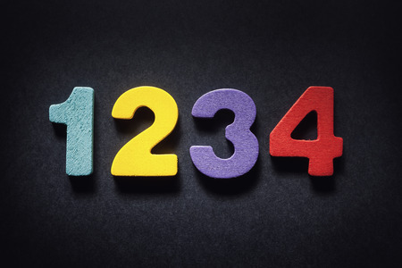 illustrating: Four wooden numbers illustrating the most common password in the world.