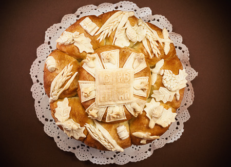 serbian: Decorated bread for celebration a saint in Orthodox faith. Serbian traditional and cultural heritage. Stock Photo