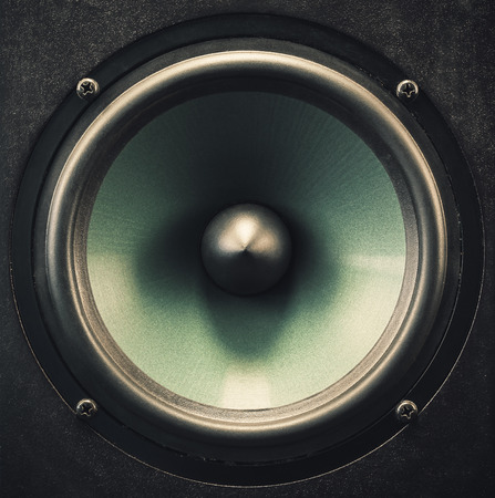 woofer: Metallic material of a woofer speaker, closeup details and of a membrane.