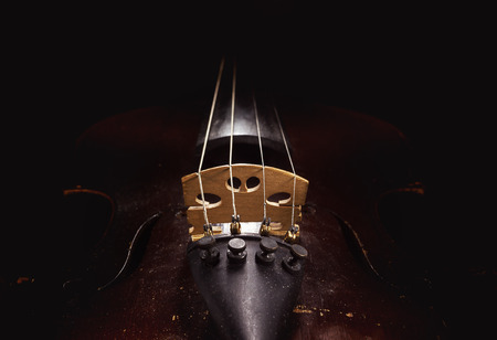 Old violin details, body part and neck. Stock Photo