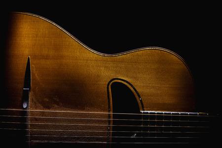 gitana: Parte de una guitarra acústica gitana, detalles de partes del cuerpo. Foto de archivo