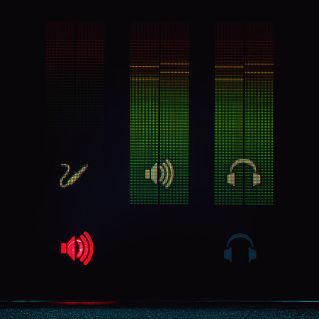 oscillations: Part of a modern audio equipment, details of a display. Stock Photo