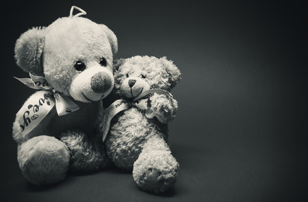cuddled: Two plush bears cuddled in black and white. Stock Photo