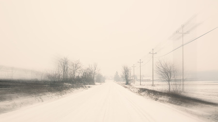 mystique: Bad weather, view from car in motion, winter period. Stock Photo