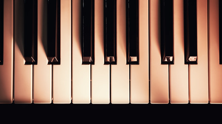 black shadows: White and black keys of modern synth, red illumination with interesting soft shadows.