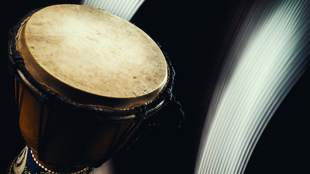 percussion instrument: Musical percussion instrument details, closeup view of a djembe. Stock Photo