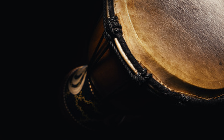 Musical percussion instrument details, closeup view of a djembe. Stok Fotoğraf