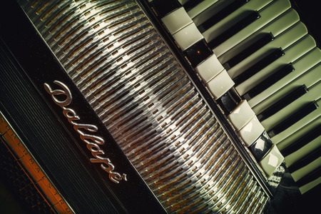 mariano: Cacak, Serbia - March 23, 2016: Famous Italian accordion Mariano Dallape & Figlio, model Supermaestro, year of production 1964.
